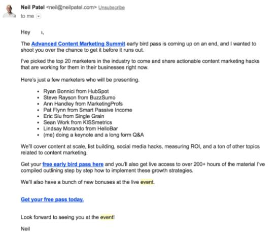 Content focused email invitation
