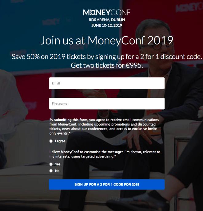 MoneyConf pre-registration page